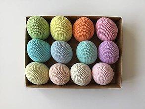 Dekorácie - Háčkované veľkonočné vajíčka pastelové farby ( 100% bavlna) (Smotanová) - 11764460_