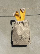Úžitkový textil - vrecúčko zajko žlté ušká..posledný ks - 11763262_