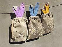 Úžitkový textil - iba 1 ks vrecúčko zajko fialové ušká - 11763296_