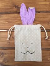 Úžitkový textil - iba 1 ks vrecúčko zajko fialové ušká - 11763305_