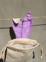 Úžitkový textil - iba 1 ks vrecúčko zajko fialové ušká - 11763306_