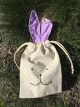 Úžitkový textil - iba 1 ks vrecúčko zajko fialové ušká - 11763307_