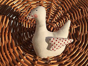 Dekorácie - malá húska  bodkovaný  zobáčik - 11763196_