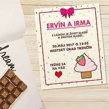 Papiernictvo - Sladká stracciatella svadobné oznámenie - jahodový cupcake - 11765446_