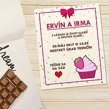 Papiernictvo - Sladká stracciatella svadobné oznámenie - malinový cupcake - 11765448_