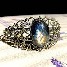 Náramky - Antique Bronze Labradorite Bracelet / Obručový náramok s labradoritom - 11767882_
