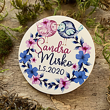 Darčeky pre svadobčanov - Magnetky pre svadobčanov zaľúbené vtáčiky - 11766748_