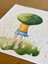 Grafika - Pilea v daždi - Print | Botanická ilustrácia - 11766777_