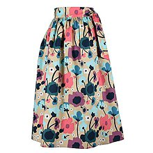 Sukne - EVA - zavinovacia nariasená sukňa (11_béžová s kvetinami) - 11766829_