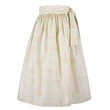 Sukne - EVA - zavinovacia nariasená sukňa (46_smotanová abstrakcia) - 11766915_