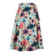 Sukne - ADA - zavinovacia áčková sukňa (11_béžová kvetinová) - 11767081_