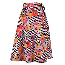Sukne - ADA - zavinovacia áčková sukňa (25_čierne pásiky s makmi) - 11767083_