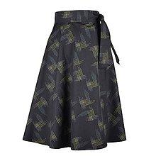 Sukne - ADA - zavinovacia áčková sukňa (44_tmavosivá abstrakcia) - 11767086_