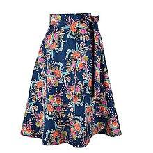 Sukne - ADA - zavinovacia áčková sukňa (26_tmavomodrá s oranžovými kvetmi) - 11767087_