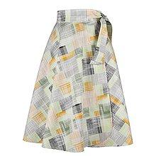 Sukne - ADA - zavinovacia áčková sukňa (48_zelenohorčicová s bielymi) - 11767091_