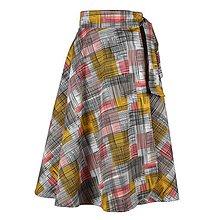 Sukne - ADA - zavinovacia áčková sukňa (47_ružovohorčicová s čiernymi) - 11767096_
