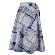 Sukne - ADA - zavinovacia áčková sukňa (50_modrá s bielymi čiarkami) - 11767098_