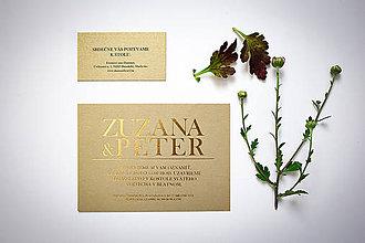 Papiernictvo - Svadobné oznamko so zlatým písmom - 11766646_