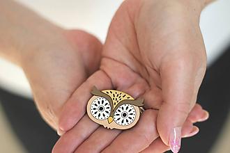 Odznaky/Brošne - Drevená Brošňa Sova (Béžová) - 11769106_