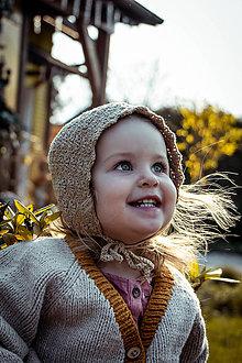 Detské čiapky - Čepiec Hana vo farbe Camel - 11768393_
