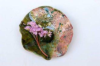 Nádoby - tanier ružovo zelený - 11766766_