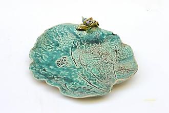 Nádoby - tanier misa tyrkysová s vtákom - 11768246_
