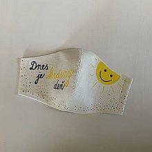"""Rúška - Maľované SMOTANOVOBIELE ľanové rúško (3-vrstvové) (s maľovaným nápisom """"Dnes je krásny deň"""" a slniečkom) - 11767054_"""