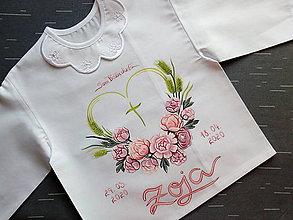 Detské oblečenie - Pivonková košieľka na krst - 11773337_