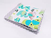Textil - Minky deka sivá a zelené sloníky 70*100cm - 11770651_