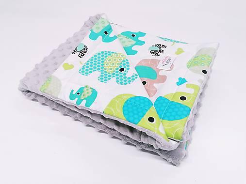 Minky deka sivá a zelené sloníky 70*100cm