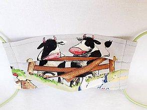 Rúška - Detské rúško 2-vrstvové (Kravičky) - 11770725_