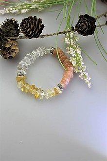 Náramky - náramok slnečný kameň citrín krištáľ - 11771333_