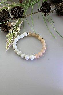 Náramky - slnečný kameň s perleťou náramok - 11771436_