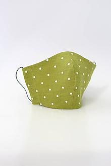 Rúška - Dámske zelené bodkované rúško z ľanu - 11771561_