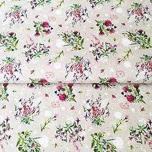 Textil - kytičky, 100 % predzrážaná bavlna Španielsko, šírka 150 cm - 11771565_