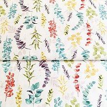 Textil - akvarelové lístky I, 100 % predzrážaná bavlna Španielsko, šírka 150 cm - 11772676_