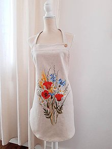 Iné oblečenie - Zástera s makmi - ľan,bavlna - 11772467_