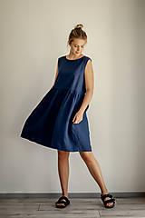 Šaty - Riasené ľanové šaty bez rukávov - 11772203_