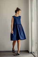 Šaty - Riasené ľanové šaty bez rukávov - 11772207_