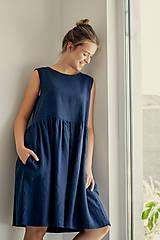 Šaty - Riasené ľanové šaty bez rukávov - 11772209_