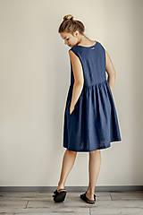 Šaty - Riasené ľanové šaty bez rukávov - 11772210_