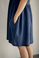 Šaty - Riasené ľanové šaty bez rukávov - 11772212_