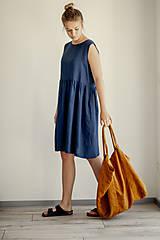 Šaty - Riasené ľanové šaty bez rukávov - 11772213_