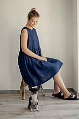 Šaty - Riasené ľanové šaty bez rukávov - 11772216_