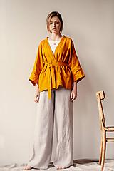 Kabáty - Ľanové sako Kimono Šafran - 11773546_