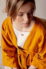 Kabáty - Ľanové sako Kimono Šafran - 11773547_