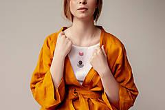 Kabáty - Ľanové sako Kimono Šafran - 11773550_