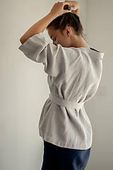 Kabáty - Ľanové sako Kimono Šafran - 11773552_