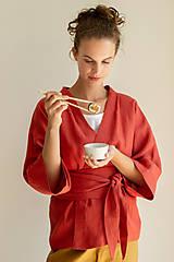 Kabáty - Ľanové sako Kimono Šafran - 11773553_