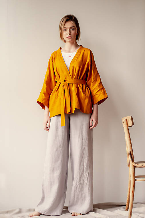 Ľanové sako Kimono Šafran